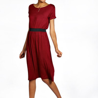 Millie Contrast Band Midi Skater Dress