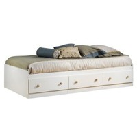 South Shore Furniture Summertime Collection Twin Mates Bed, Pure White and Natural Maple