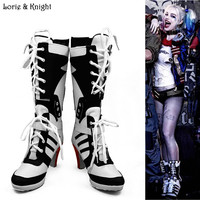 Batman Suicide Squad Harley Quinn Movie Cosplay Costumes Shoes Boots High Heels Custom Made For Adult Women Halloween Party Boot