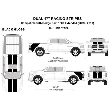 """Dual 17"""" Racing Stripe Kit with Rockers [Total Width 37""""] - Compatible with/Replacement for - Dodge RAM 1500 Extended 2009 - 2019"""