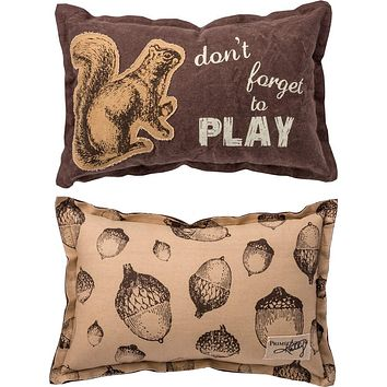 Don't Forget to Play Pillow with Squirrel and Acorns