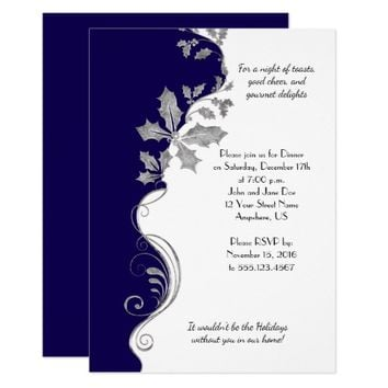 Elegant Navy Blue Silver Holly Christmas Party Card