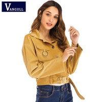 Casual Autumn New Style Women's Clothing corduroy Slim wild Female Short Jacket long sleeve Solid Single Breasted Sashes Outwear