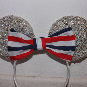 Minnie Mouse Ears Headband Silver Sparkle with red white blue usa flag Bow july 4 edition