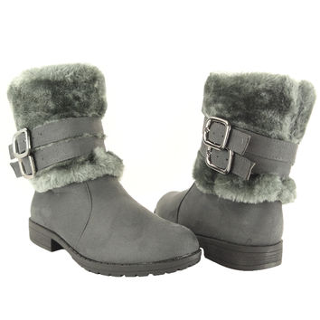 Womens Ankle Boots Faux Fur Cuff Ankle Wrap Buckles Gray SZ