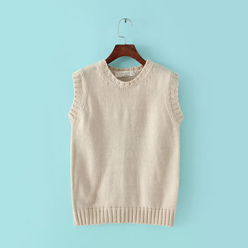 Korean Winter Round-neck Pullover Sweater Vest Knit Women's Fashion Bottoming Shirt [8940816775]