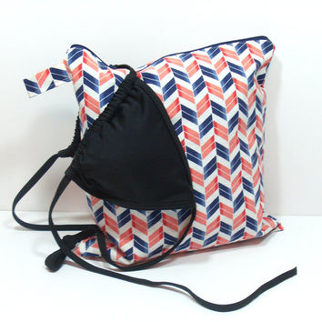 Large Wet Bag, Navy and Coral Chevron, Summer Wet Bag, Bathing Suit Bag, Beach Bag, Waterproof Bag, Zipper Wet Bag, Travel Wet Bag
