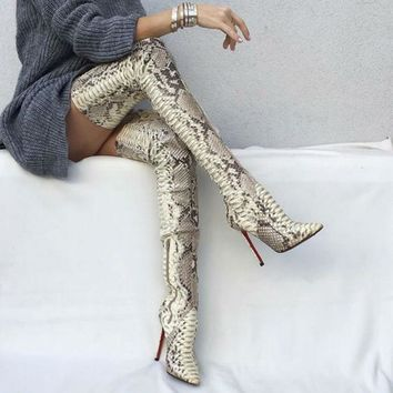 Snakeskin Women Boots New Fashion Pointed Toe High Heels Over The Knee Boots Sexy Snake Pumps Lady Side Zipper Long Boots