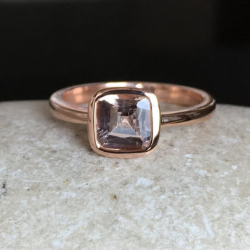 9K/14k Morganite Ring- Rose Gold Ring- Morganite Ring- Bridal Ring- Promise Ring- Engagement Ring- Anniversary Ring- Wedding Ring