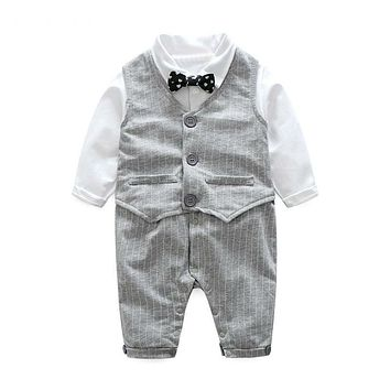 Baby boy clothing sets cotton long sleeve baby rompers+vest stripe baby clothes toddler boy clothes