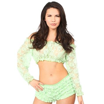 Daisy Corsets Lt Green Sheer Lace Long Sleeve Peasant Top