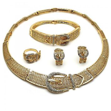 Gold Layered 06.288.0028 Necklace, Bracelet, Earring and Ring, Greek Key and Belt Buckle Design, with White Crystal, Polished Finish, Golden Tone