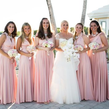 Summer Blush Pink Bridesmaids Convertible Long Dress