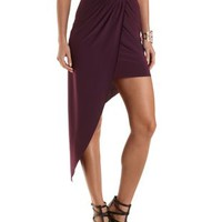 Gathered Asymmetrical High-Low Skirt by Charlotte Russe - Purple