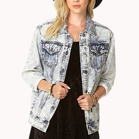 Street-Chic Acid-Wash Denim Jacket