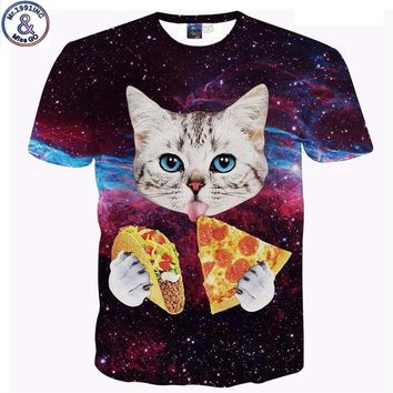 Mr.1991 Brand newest Pizza cat printed 3D t-shirt for girls teenage boys summer style short sleeve tees tops children clothes