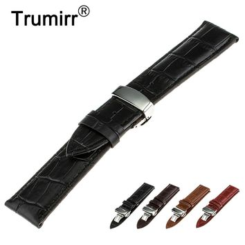 16mm 18mm 20mm 22mm 24mm Genuine Leather Watch Band for Hamilton Stainless Steel Butterfly Buckle Strap Wrist Belt Bracelet
