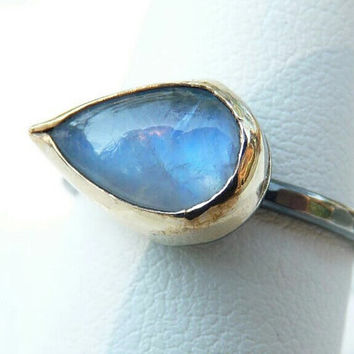 handmade rainbow moonstone ring - 14k gold filled bezel and blackened sterling silver setting - two tone ring - ancient roman