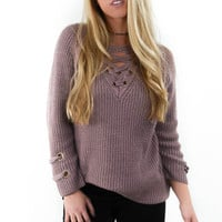 St. Cloud Dusty Rose Grommet Sweater