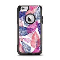 The Seamless Pink & Blue Color Leaves Apple iPhone 6 Otterbox Commuter Case Skin Set