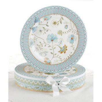 Set of 2 Porcelain Blue Romance Dessert Plates in Gift Box