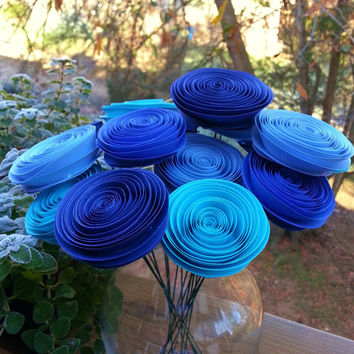 16 Paper Flowers in Aqua, Navy, Royal and Baby Blue - Handmade Rolled Paper Flower Bouquet for Brides, Weddings, Showers, Birthdays
