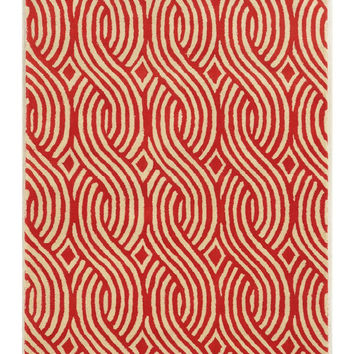 Cable Pattern Red Area Rug