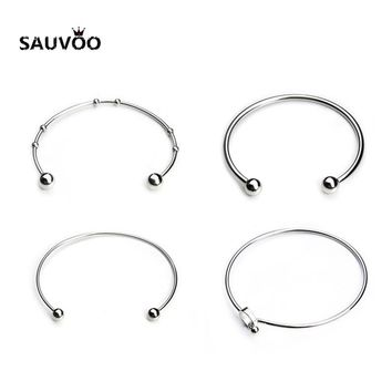Sauvoo 2pcs Silver Color Stainless Steel Blank Open Expandable Wire Cuff Bangle Bracelets for Women Fashion Simple Party Jewelry