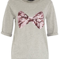 Grey sequin bow sweat - Top Rated