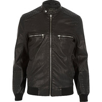 River Island MensBlack leather-look bomber jacket