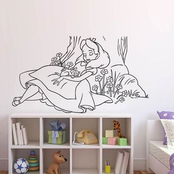Wall Sticker Decals Alice In Wonderland Cartoon Rabbit Tea Time Cheshire Cat Girl Nursery Bedroom Waterproof Stickers Decor K550