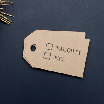 10 Kraft Naughty Or Nice - Christmas Gift Tags - 3in x 1.875in - Do Not Open Until December 25, Christmas Tree