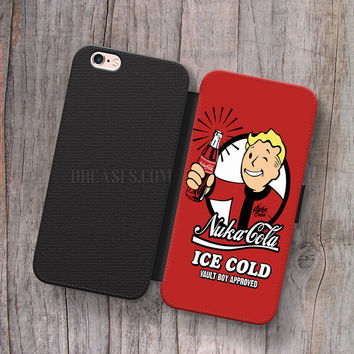 Wallet Leather Case for iPhone 4s 5s 5C SE 6S Plus Case, Samsung S3 S4 S5 S6 S7 Edge Note 3 4 5 Nuka Cola Fallout Cases
