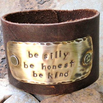 Hand Stamped leather cuff braceletBe Silly Be by Stampedbymichele