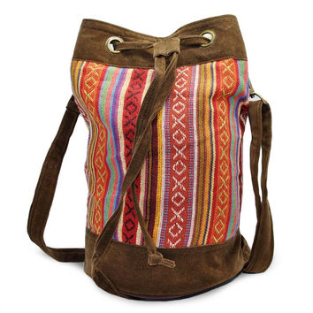 Mato Drawstring Bucket shoulder Bag Bohemian Aztec Pattern Handbag suede