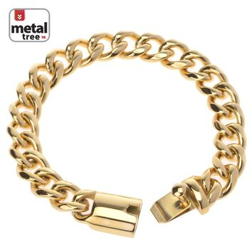 Jewelry Kay style Men's Heavy 14k Gold Plated 13 mm Stainless Steel Cuban Link Chain Bracelet 9""