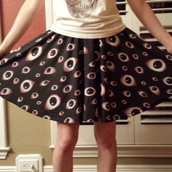 Creepy Eyeball Skirt - Goth / Horror - One Size Fits Most Skater Skirt