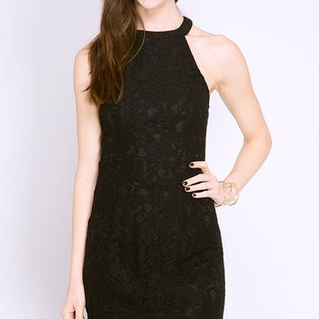 BLACK LACE DRESS WITH NECK BAND