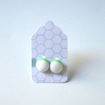 Stud Earrings - White and Pastel Green Stud Earrings - Tiny Stud Earrings - Post Earrings - Colorful Earrings - Handmade Enamel Studs