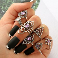 Retro Rings Fashion Rings Hollow Carved Flowers Joint Knuckle Rings Sets 7Pcs