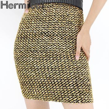 2018 New Arrives Womens Skirts Gold Sequined Mini Skirt Bodycon Pencil Skirt Short Wrap Skirt For Office Lady Party Girl Saia