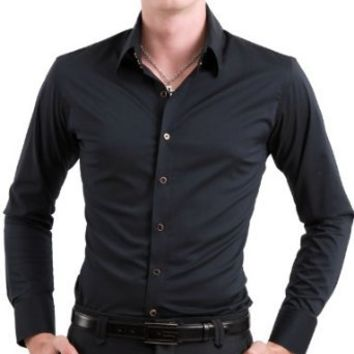 Doublju Mens Stylish Button Down Wrinkle Free Long Sleeve Plus Size Dress Shirt NAVY,(US 2XL)