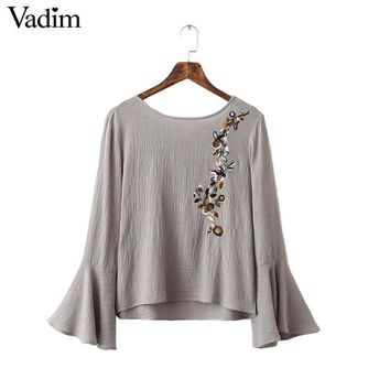 Women back bow floral embroidery loose shirts flare sleeve backless bow tie o neck vintage blouse casual tops blusas LT1372