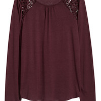 H&M Long-sleeved Top with Lace $9.99