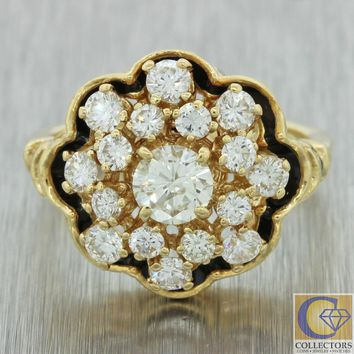 Antique Vintage Victorian Style 14k Yellow Gold 1.40ctw Diamond Cluster Ring