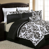 Victoria Classics Daniella 8-Piece King Comforter Set In Black & White - Beyond the Rack