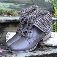 Falling Timbers Fold Over Brown Sweater Booties