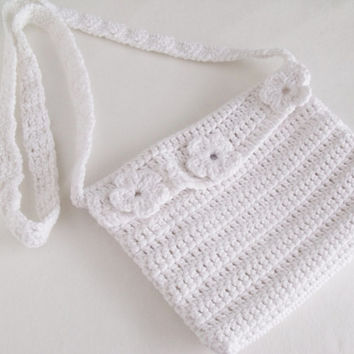 White Crochet Bag With Flower-Ready For Shipping