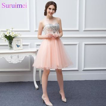 Free Shipping Short Peach Prom Dresses Beaded Applique Soft Tulle High Quality Girls Prom Party Gown