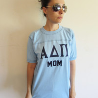 Vintage 70s Bantams Light Blue Greek Letters Alpha Delta Pi Sorority College Mom T Shirt